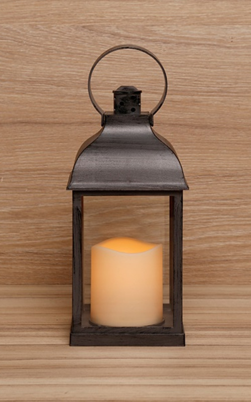 Fekete vintage lámpás pislákoló LED gyertyával