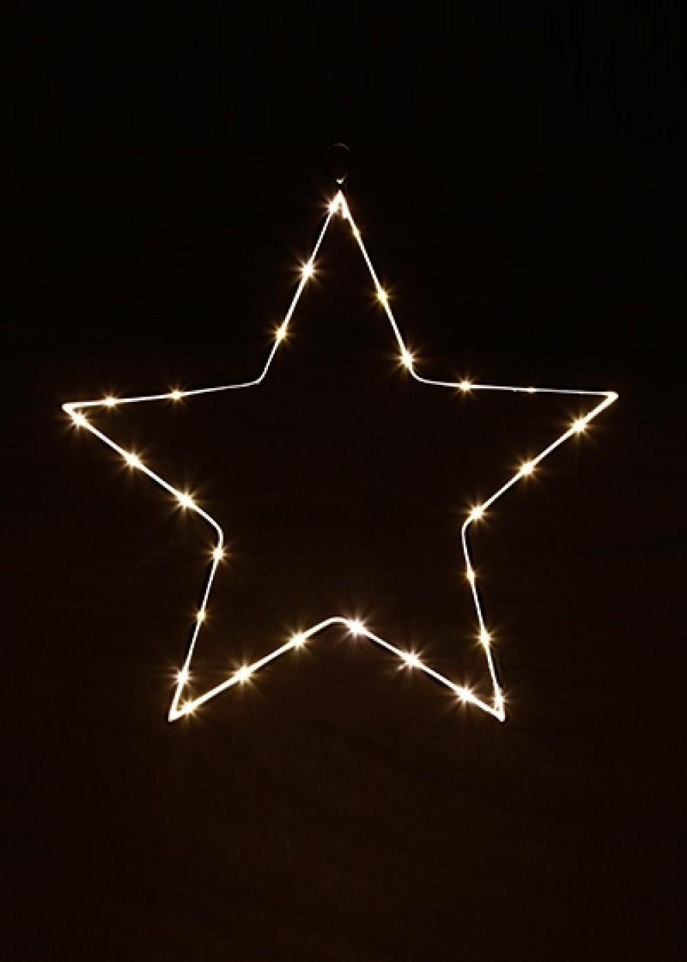 Karácsonyi világító dekoráció-Fehér LED csillag 27 cm