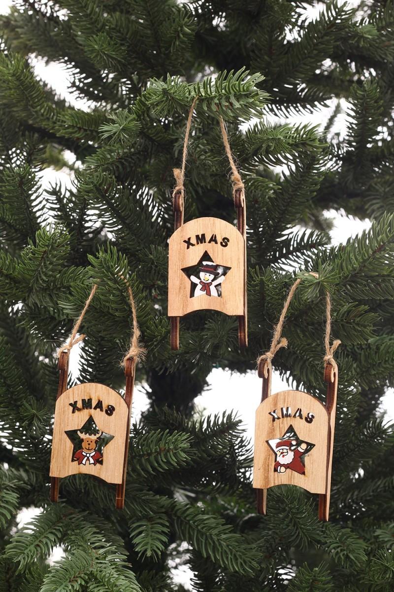 Karácsonyi dekoráció-fából készült szánkók