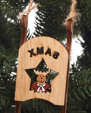 Karácsonyfadísz-fa szánkó Rudolfal