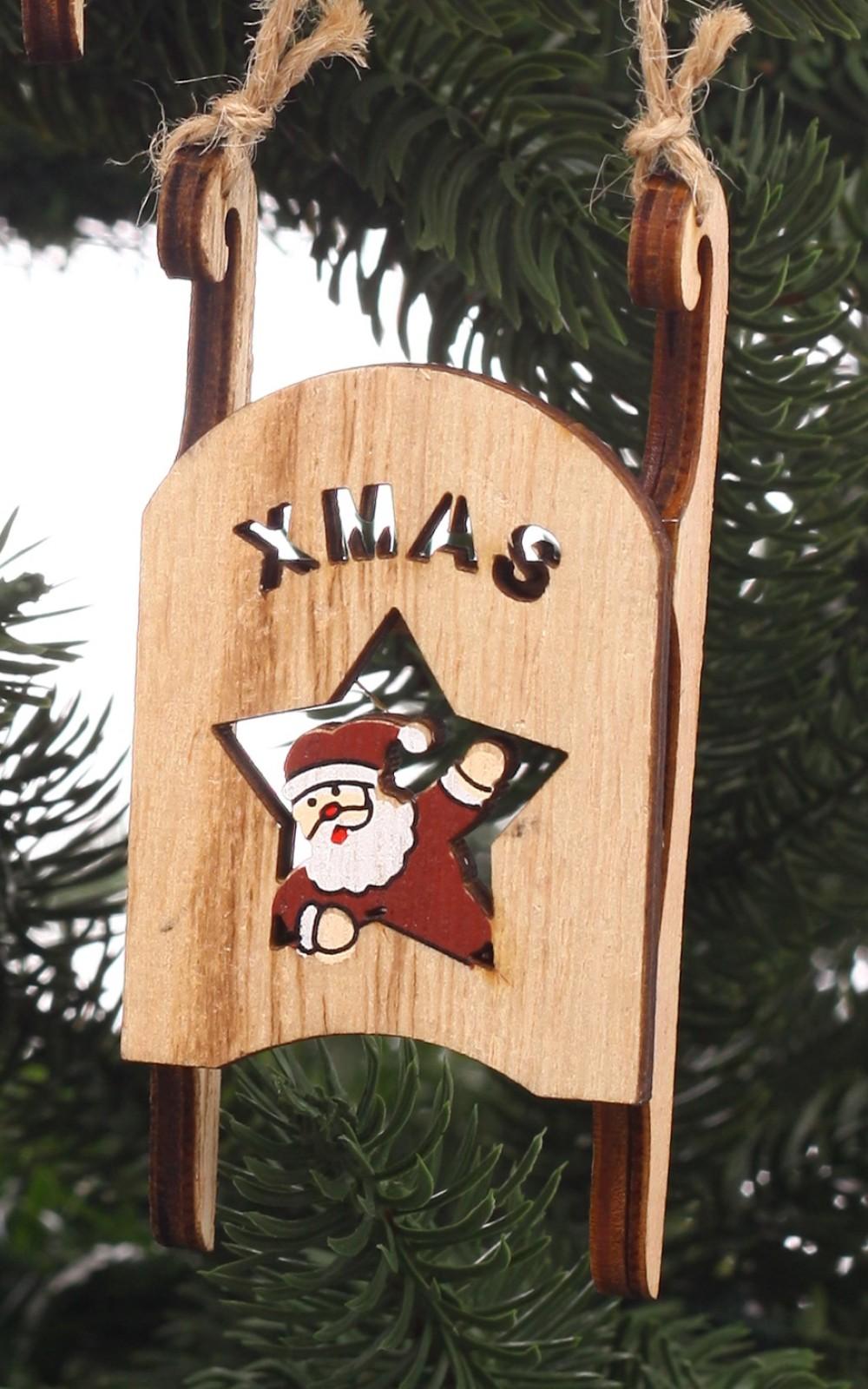 Karácsonyi dísz-fa szánkó télapóval
