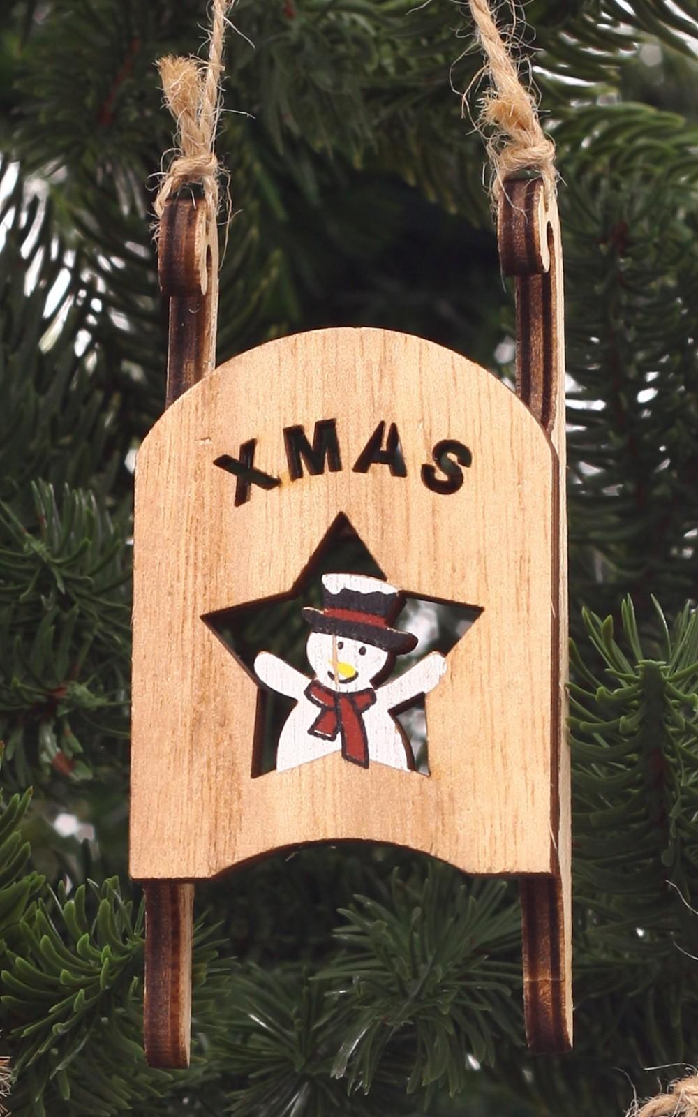 Karácsonyi dekoráció-fa szánkó hóemberrel