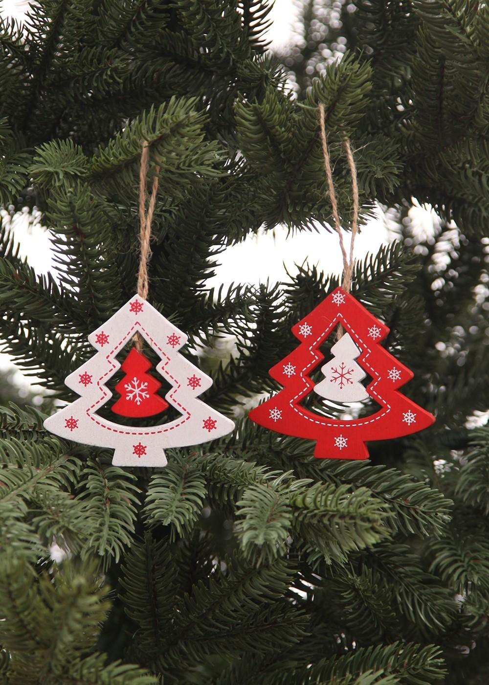 Karácsonyfadísz-Piros-fehér karácsonyfa