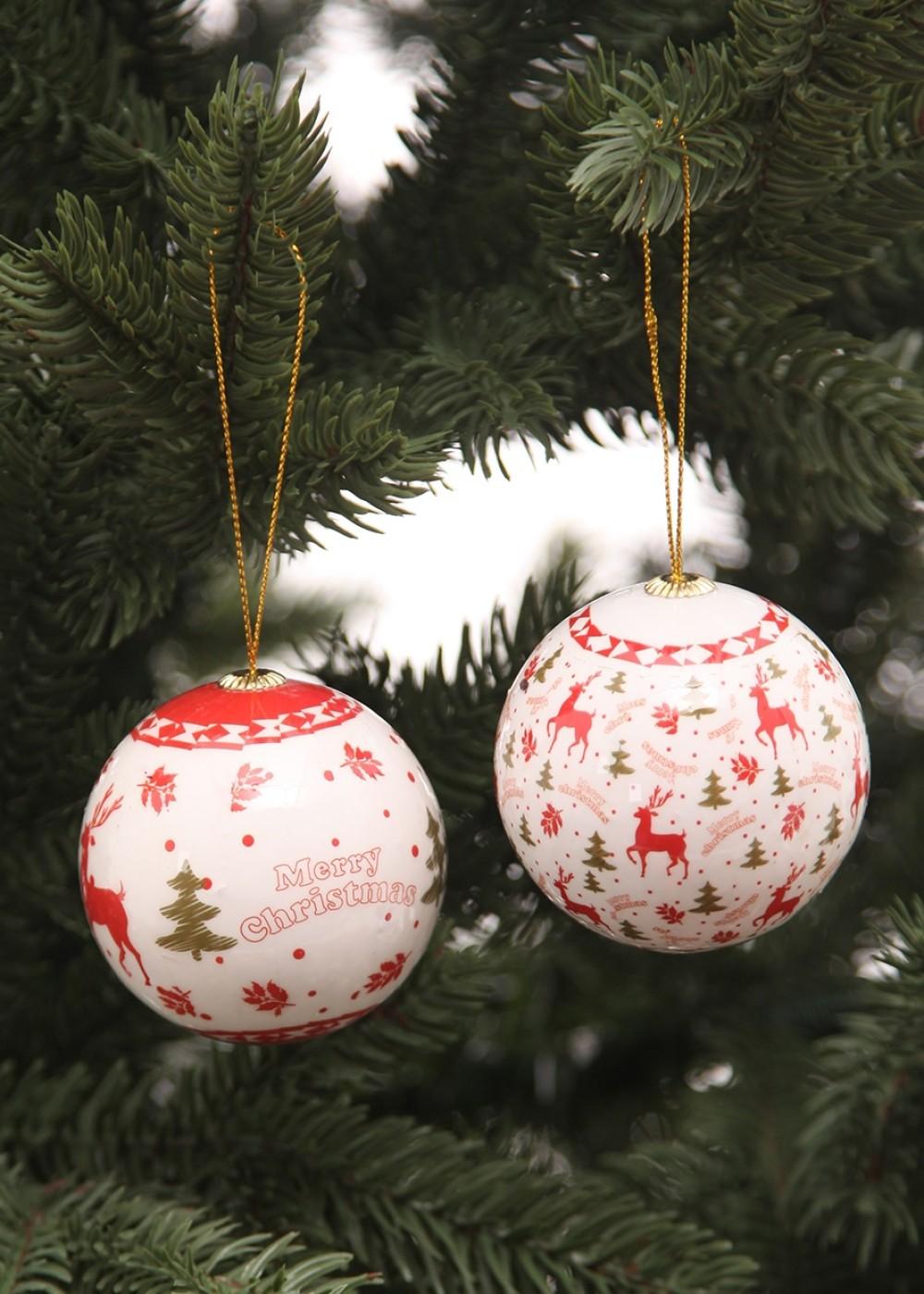 Karácsonyi díszek-Szarvas mintás karácsonyi gömbök