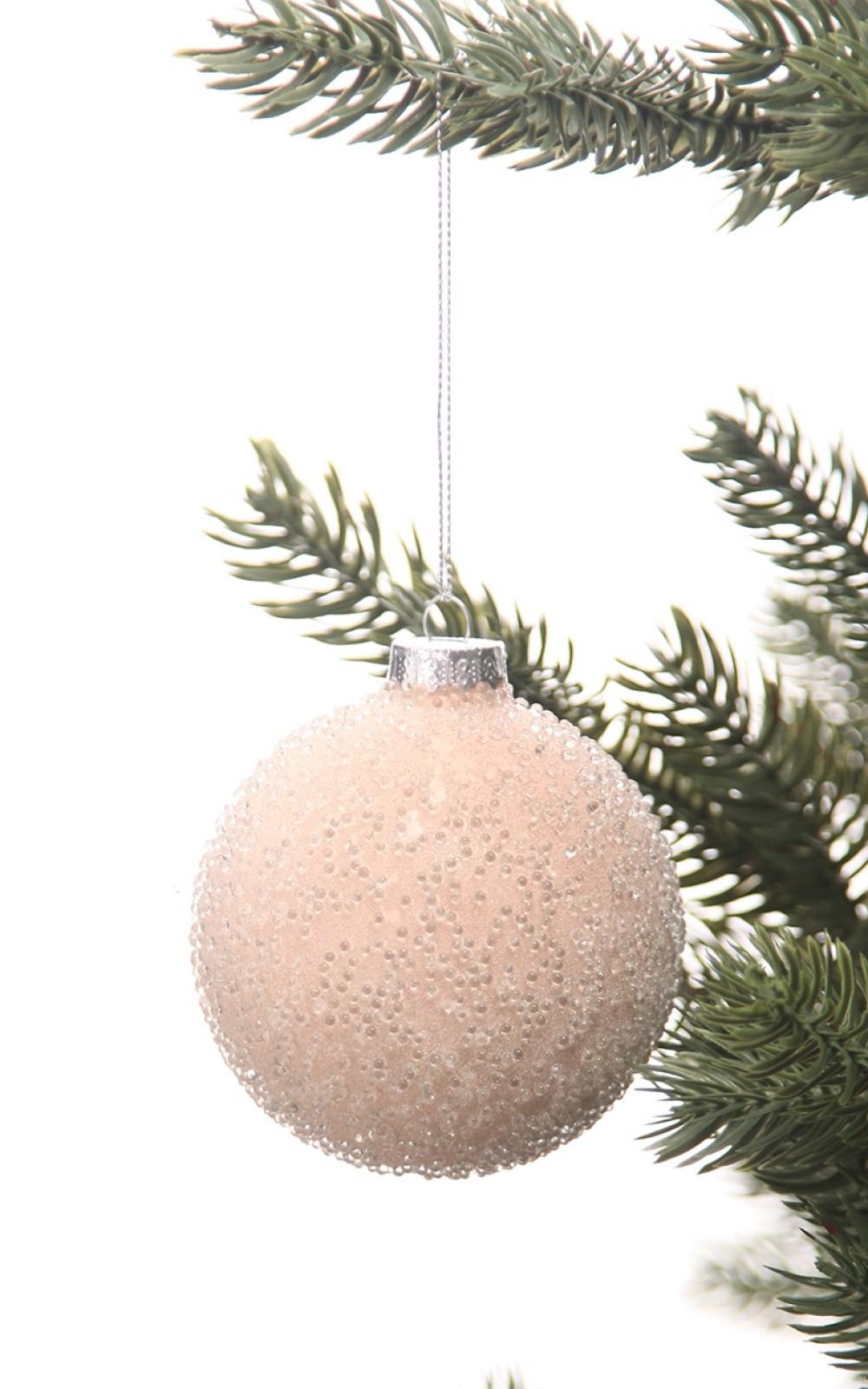 Karácsonyi üveggömb gyöngyökkel,matt