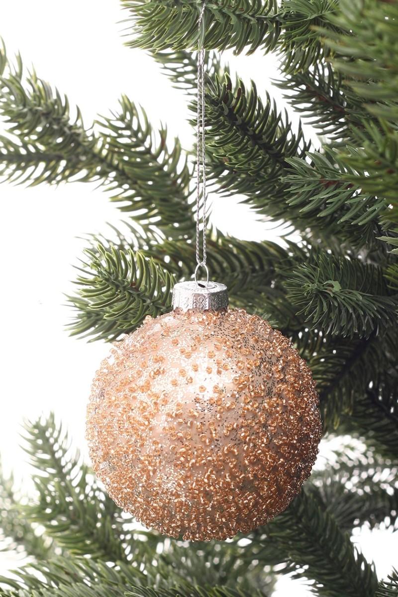 Karácsonyi üveggömb gyöngyökkel,fényes