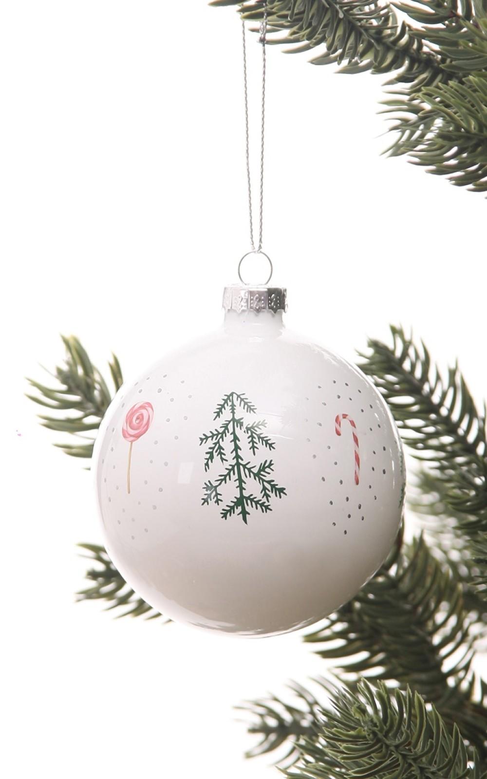 Karácsonyfadísz-Mintás üveggömb