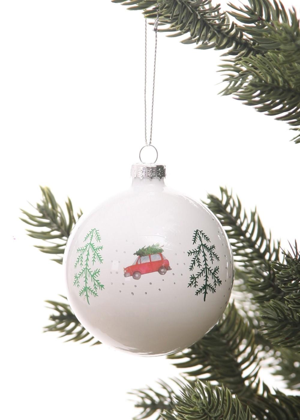 Karácsonyfadísz-Fehér üveggömb
