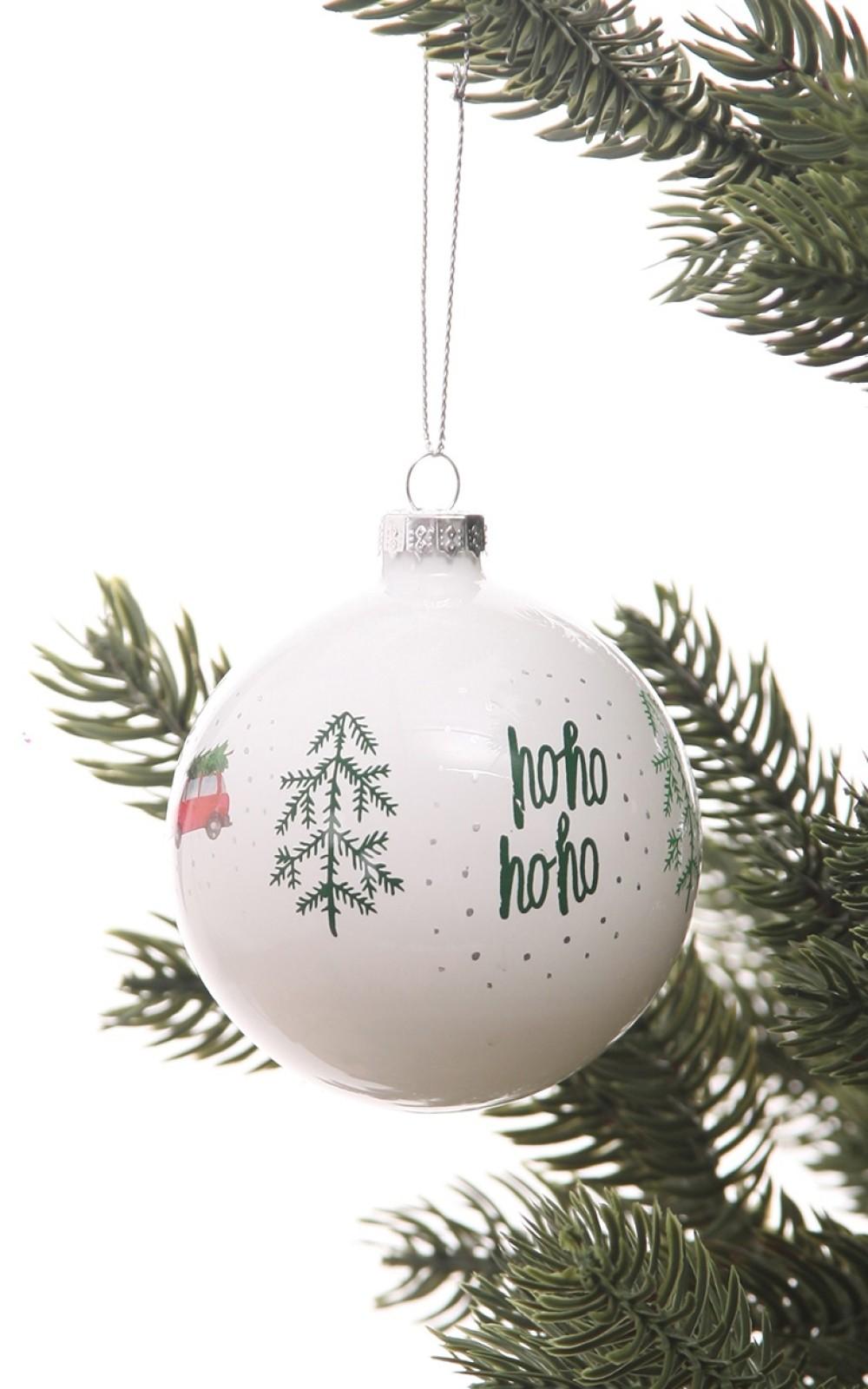 Karácsonyfadísz-Fehér, mintás üveggömb