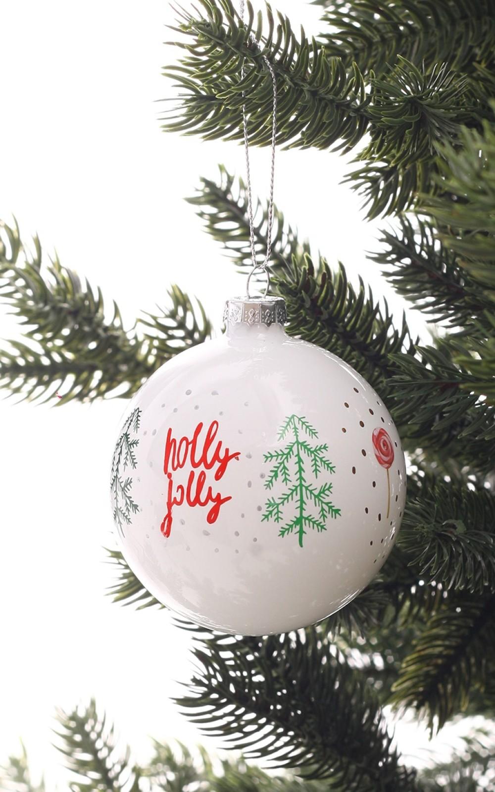 Karácsonyfadísz-Fehér üveggömb-Holly Jolly
