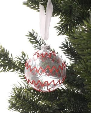 Karácsonyfadísz-átlátszó üveggömb piros mintával