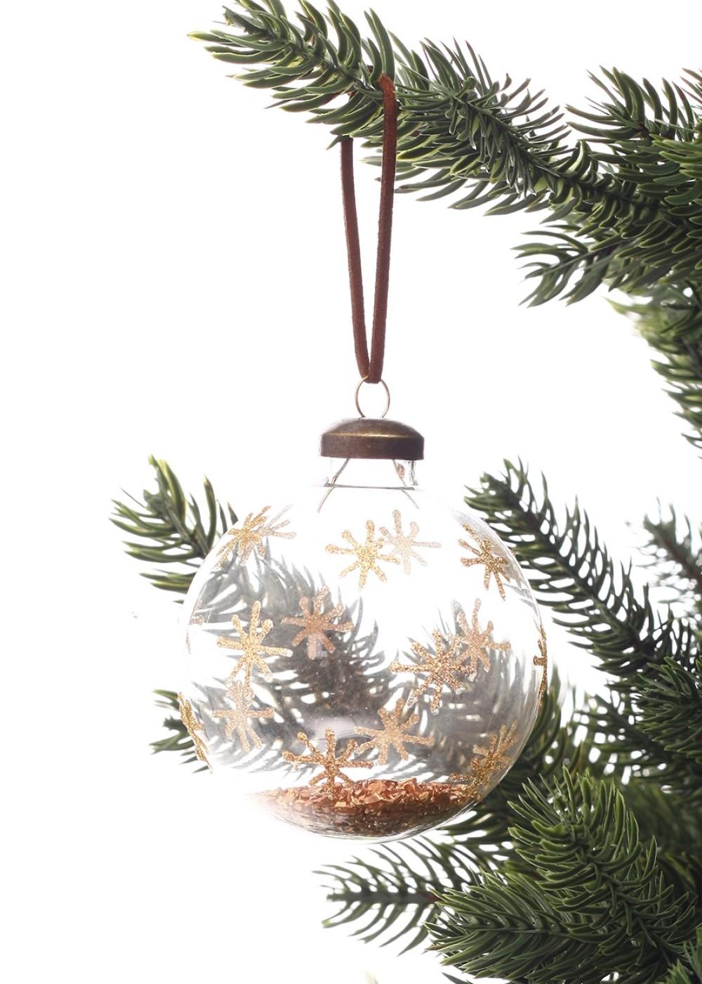 Karácsonyfadísz bronzszínű csillámporral