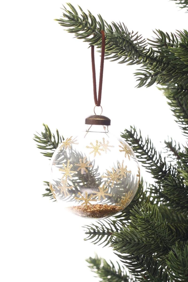 Karácsonyfadísz aranyszínű csillámporral