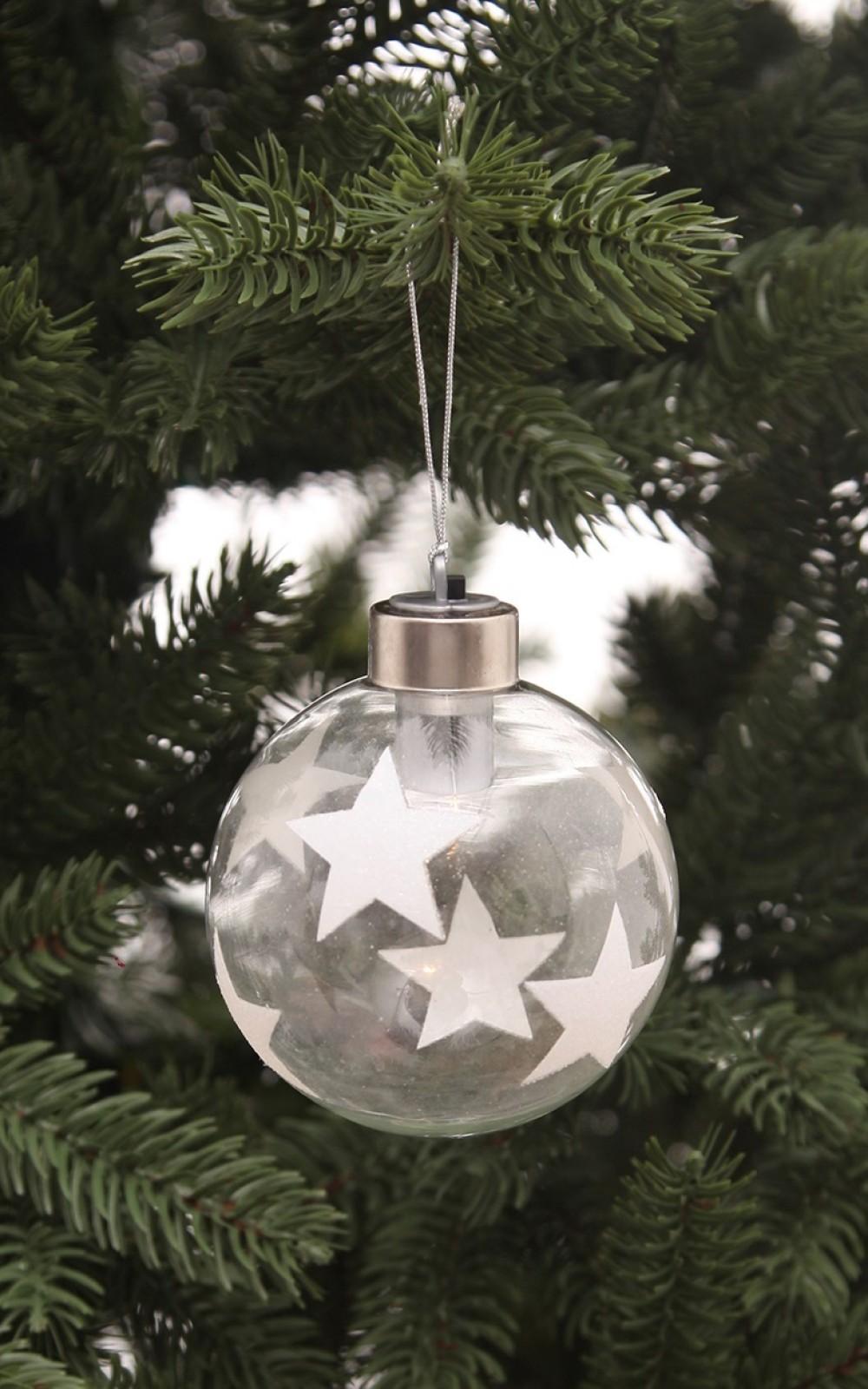Karácsonyi üveggömb fehér csilagokkal