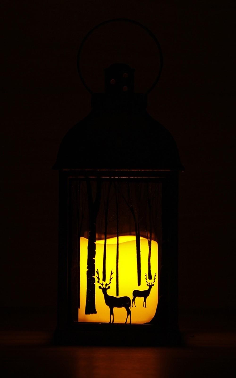 Karácsonyi fények-Antracit színű lámpás pislákoló Led gyertyával