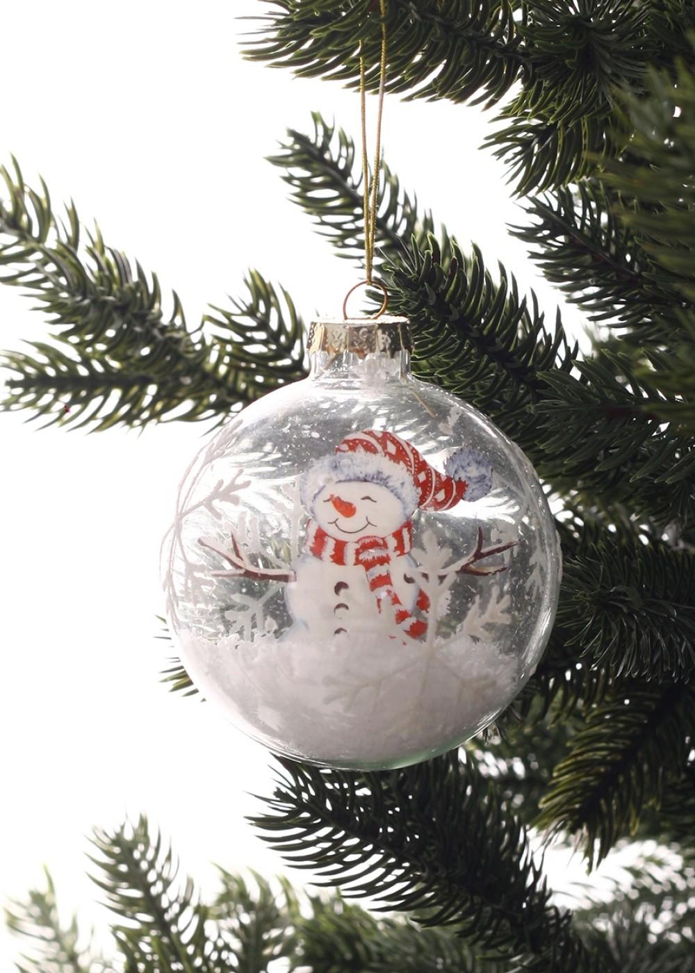Karácsonyi üveggömb hóemberrel