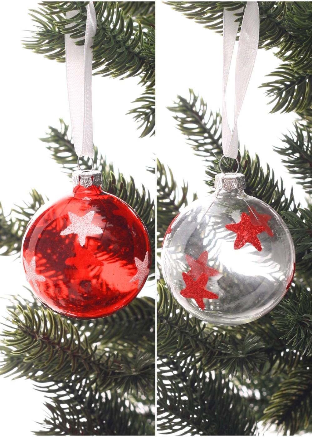 Piros-fehér átlátszó karácsonyi üveggömbök