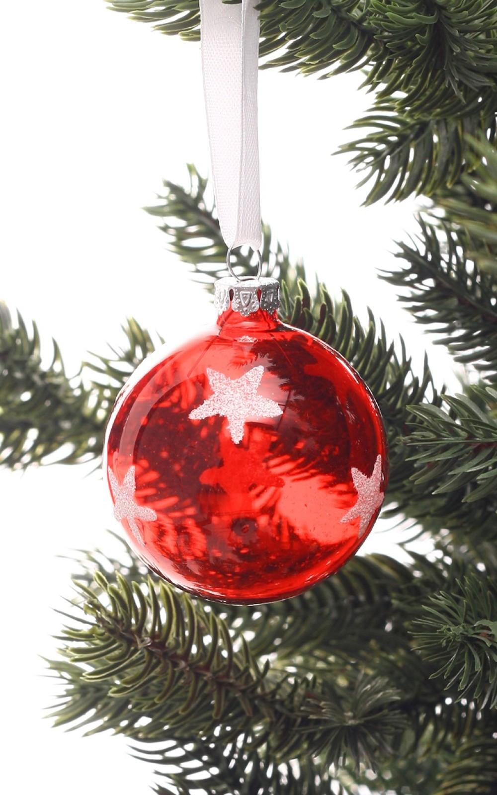 Piros átlátszó karácsonyi üveggömb csillagokkal