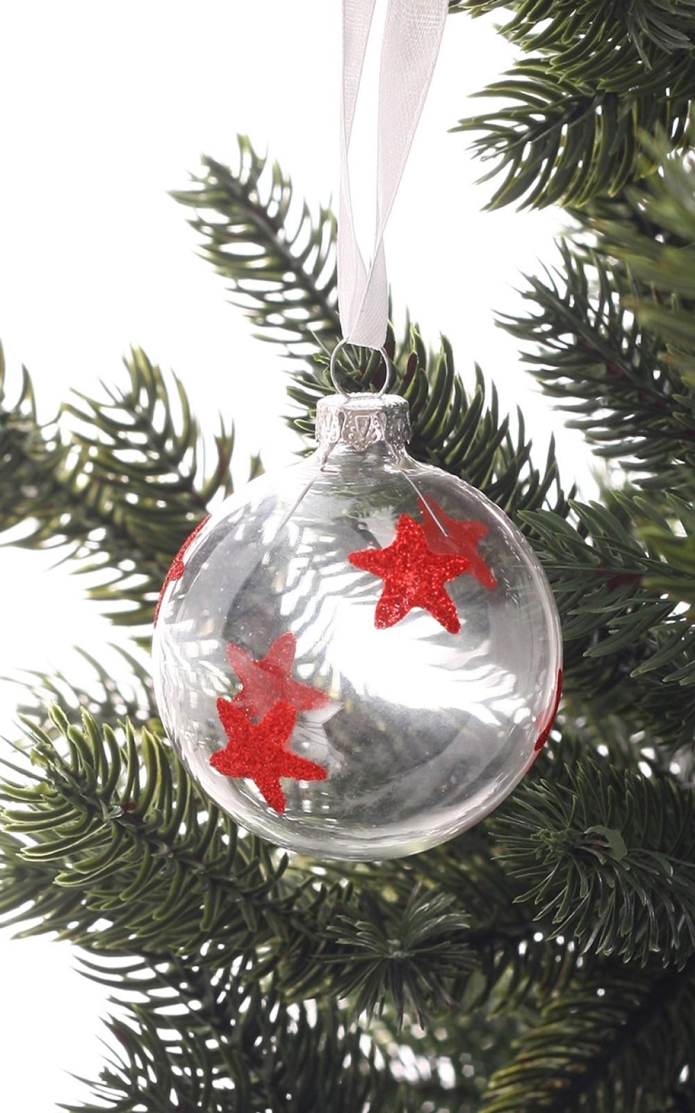 Fehér átlátszó karácsonyi üveggömb csillagokkal