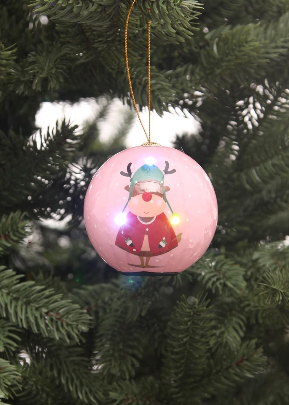 Világító karácsonyfadísz –Rudolf- 8cm