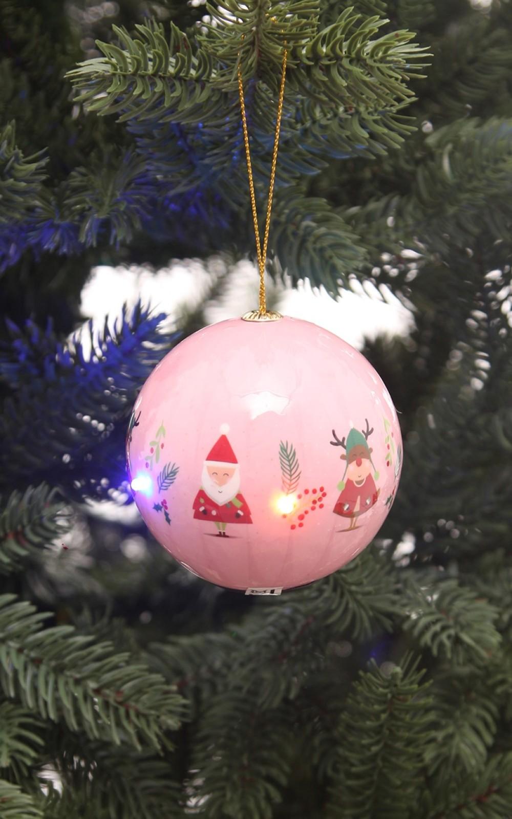 Világító karácsonyi gömb Télapó és Rudolf mintával