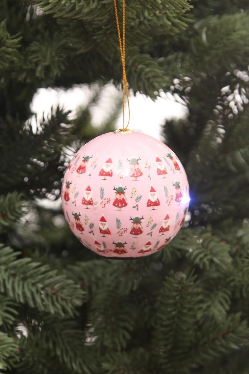 Világító karácsonyfadísz -Rudolf és télapó mintákkal- 8cm