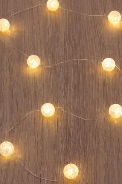Fényfüzér meleg fehér fényű LED golyókkal