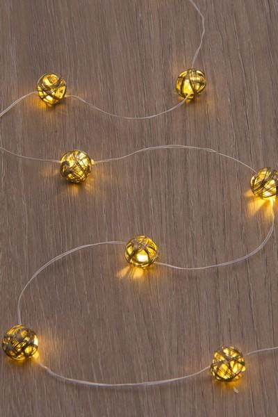 Fényfüzér bronzszínű fém golyókkal