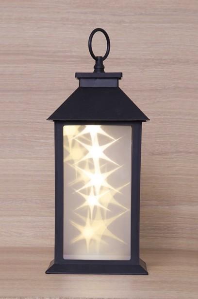 Matt fekete lámpás LED fényfüzérrel
