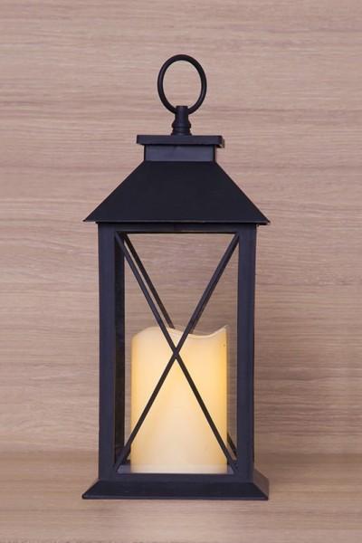 Lámpás pislákoló lángú LED gyertyával