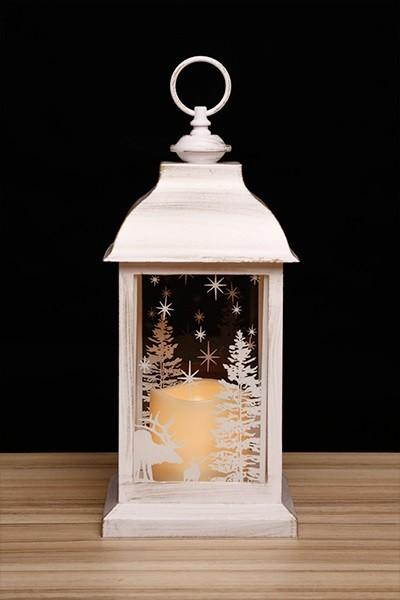 Fehér lámpás pislákoló LED gyertyával